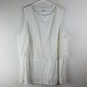 J. Jill Top 4X White Eyelet Cotton Modal Shirt